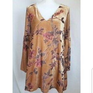 Anthropologie Peach Velvet Floral Dress Medium